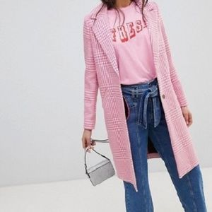 River Island pink checked coat size 6(UK)/ 2(US)